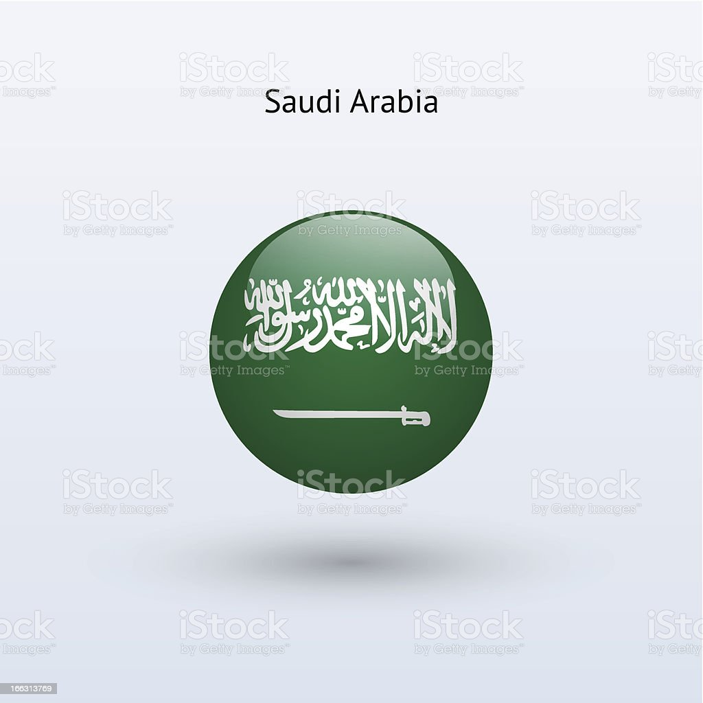 Round flag of Saudi Arabia royalty-free stock vector art