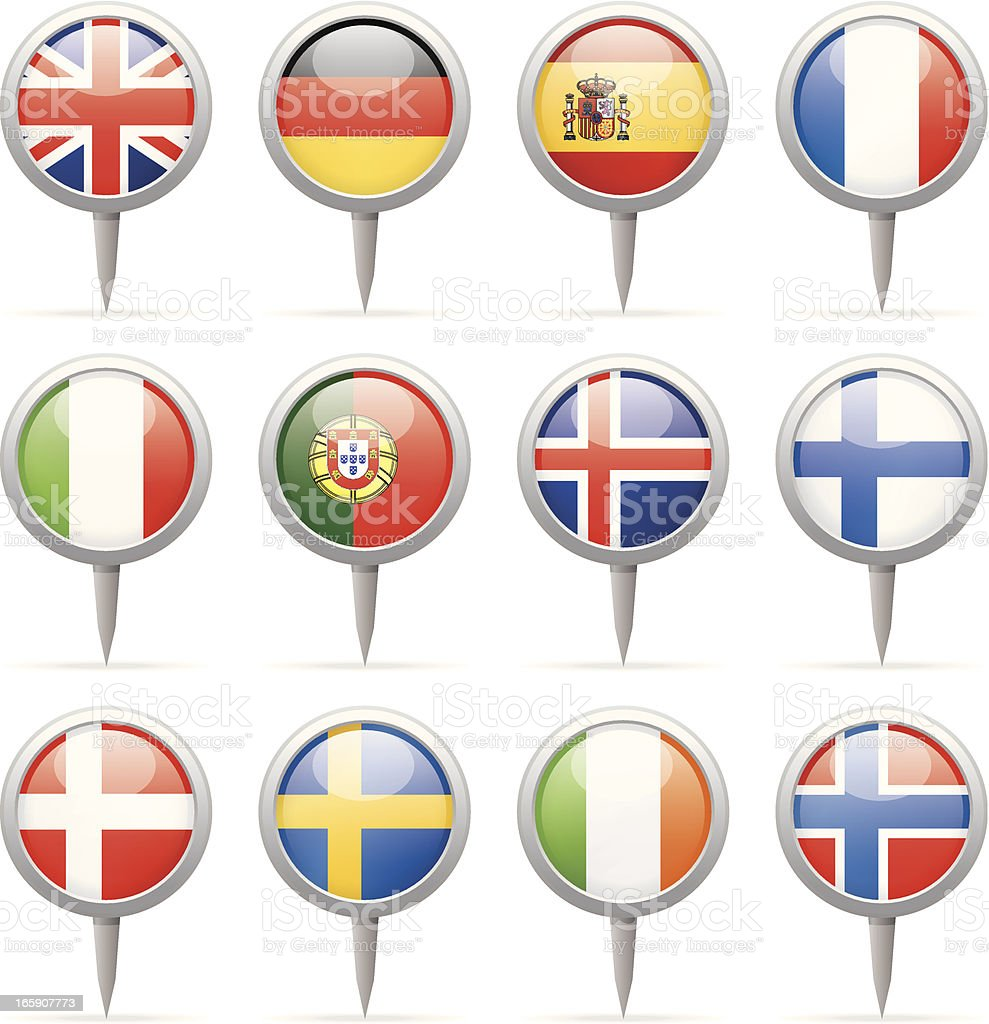 Round flag pins - Europe royalty-free stock vector art