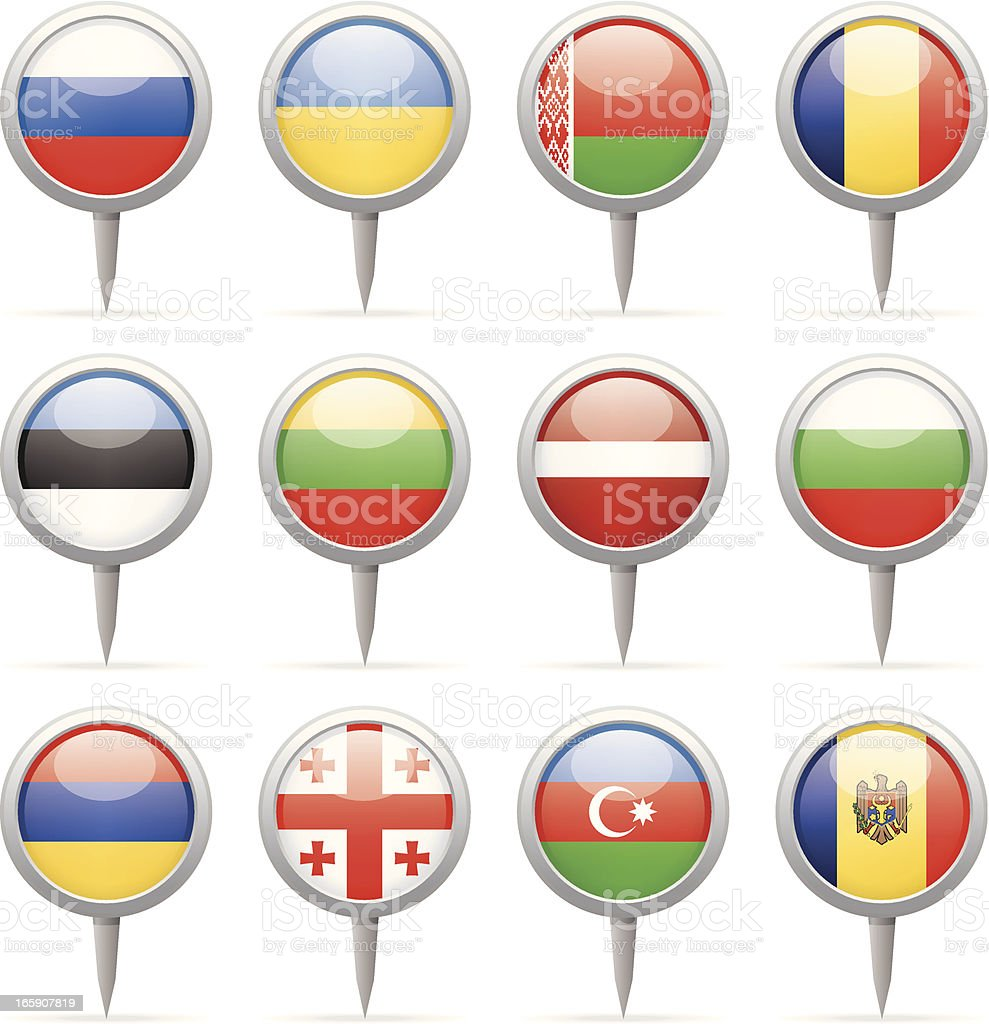 Round flag pins - Europe vector art illustration