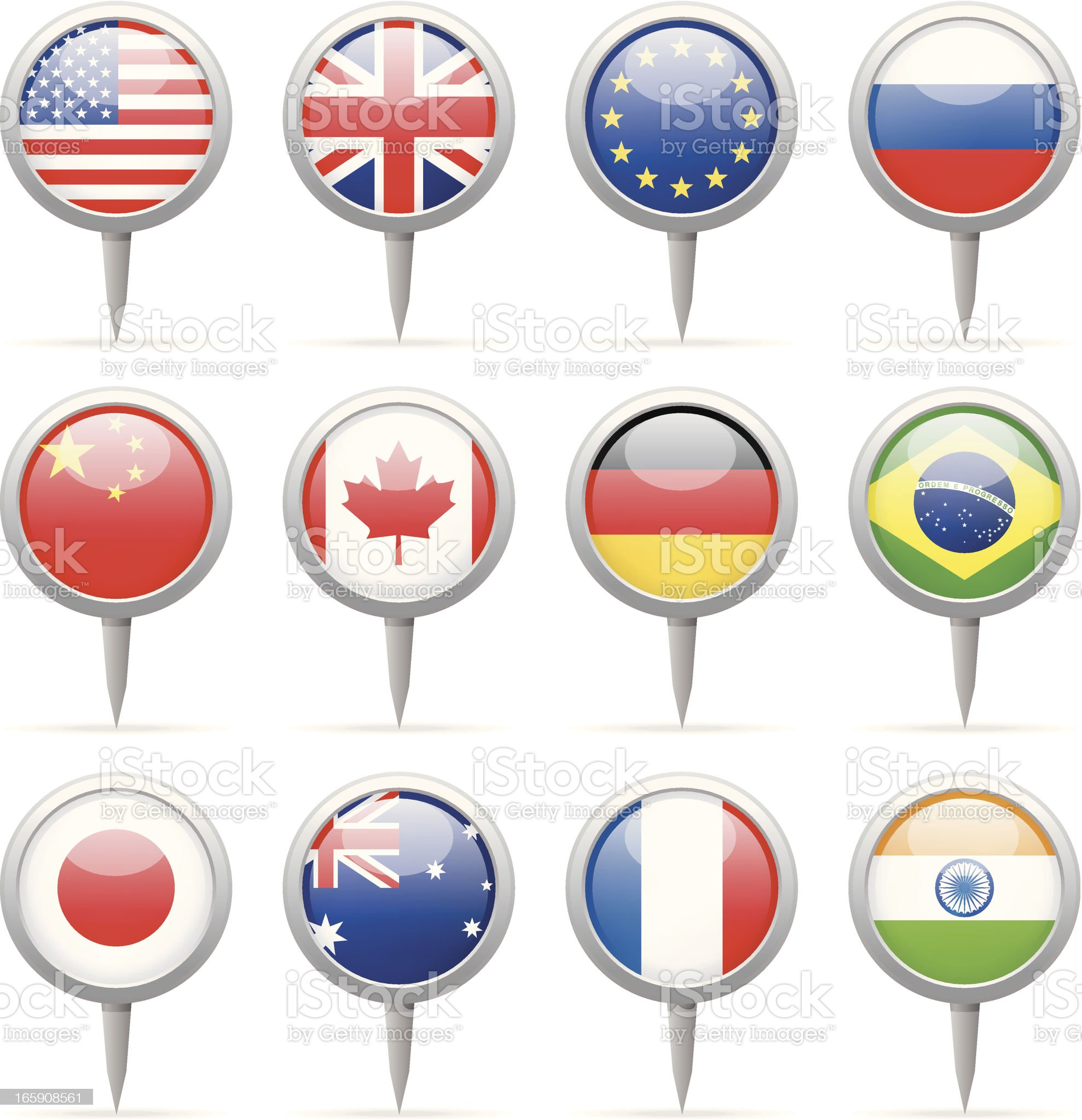 Round flag pins - most popular royalty-free stock vector art