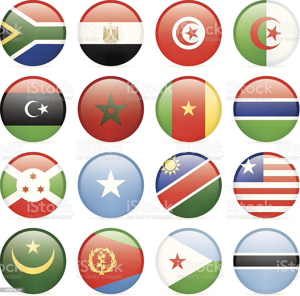 Round flags of African countries icon collection royalty-free stock vector art
