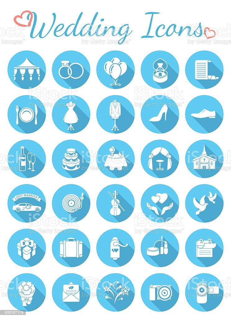 Round Flat Wedding Icons vector art illustration