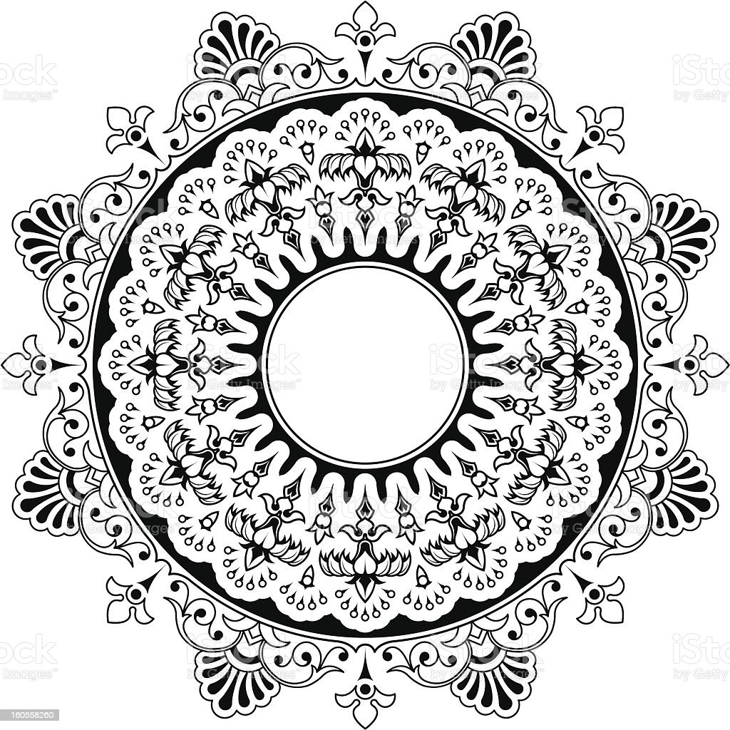 Round floral calligraphic mandala border royalty-free stock vector art