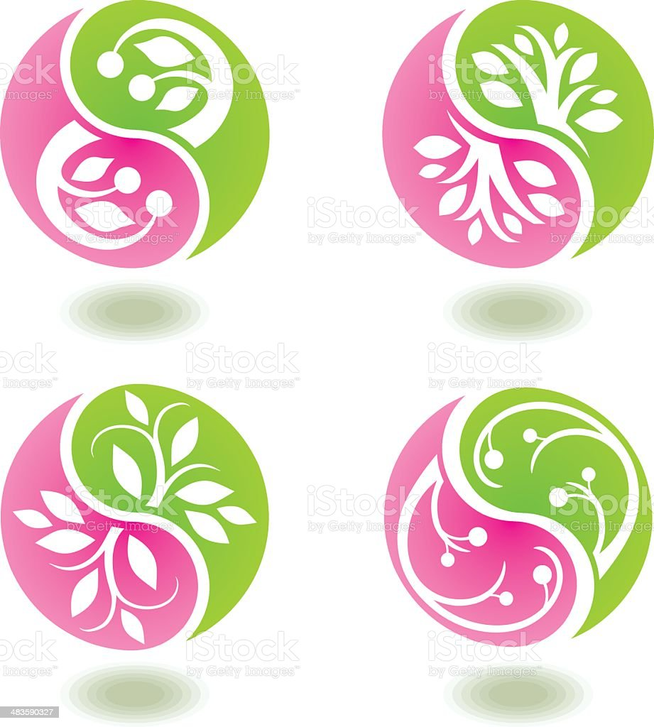 Round floral symbols royalty-free stock vector art