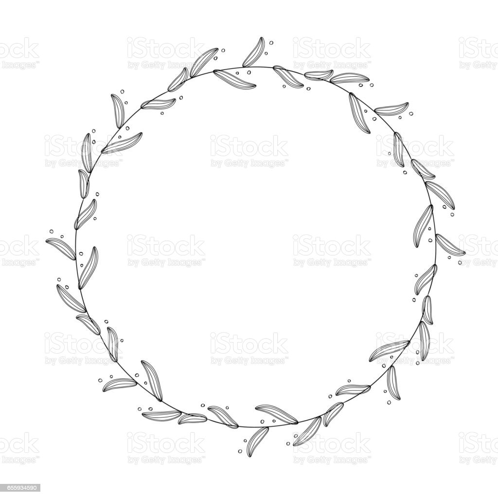 Round frame with decorative branch vector illustration stock - Round Flourish Vintage Decorative Whorls Frame Leaves Isolated On White Background Vector Calligraphy Illustration Eps10