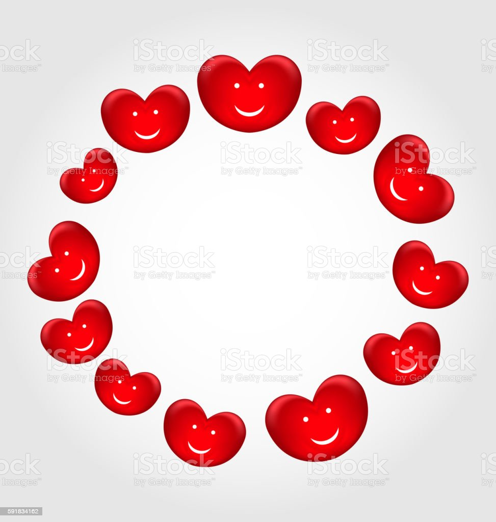 Round frame made in smiling hearts for Valentines Day vector art illustration