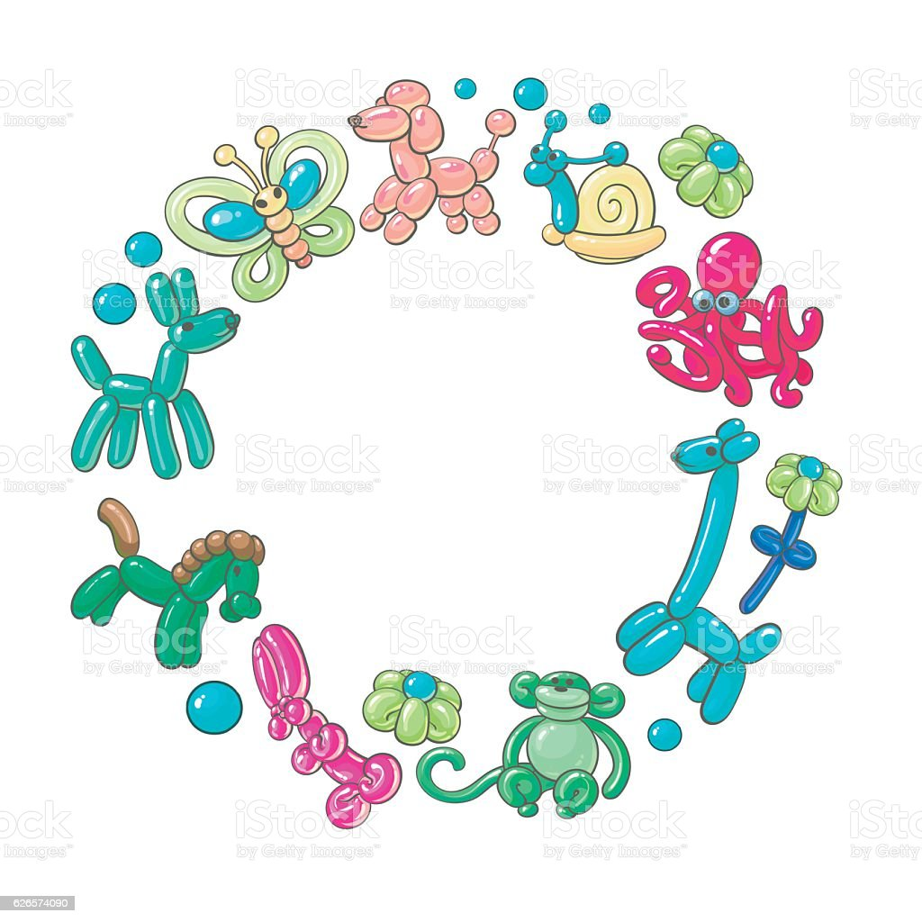 Round frame made of twisted balloon animals vector art illustration
