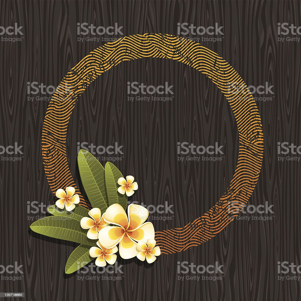 Round frame & tropical flowers on a wood background vector art illustration