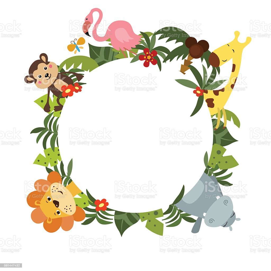 Round frame with African animals vector art illustration