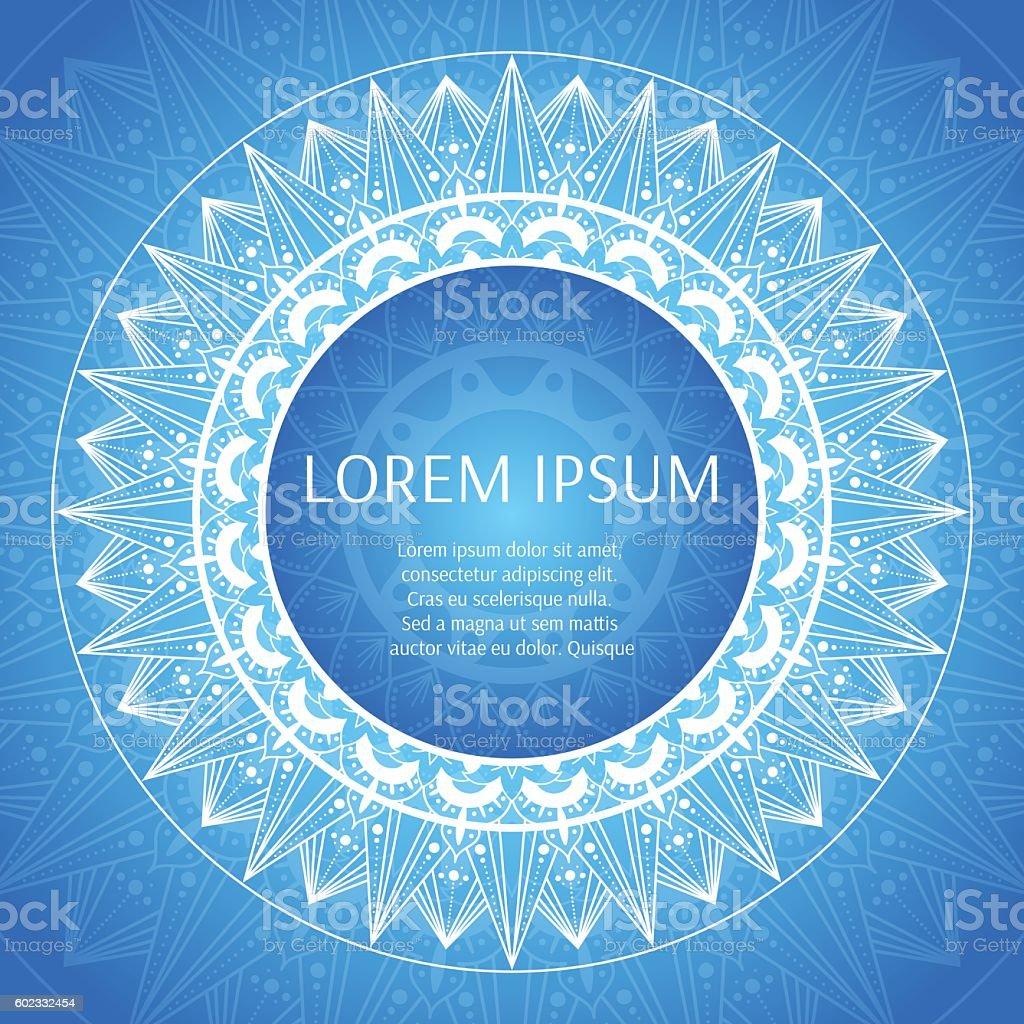 Round frame with blue white ornamental print. vector art illustration