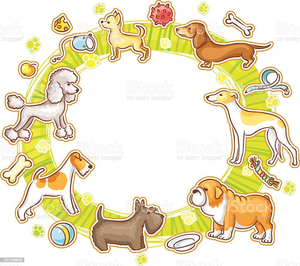 Round Frame with Cartoon Dogs vector art illustration