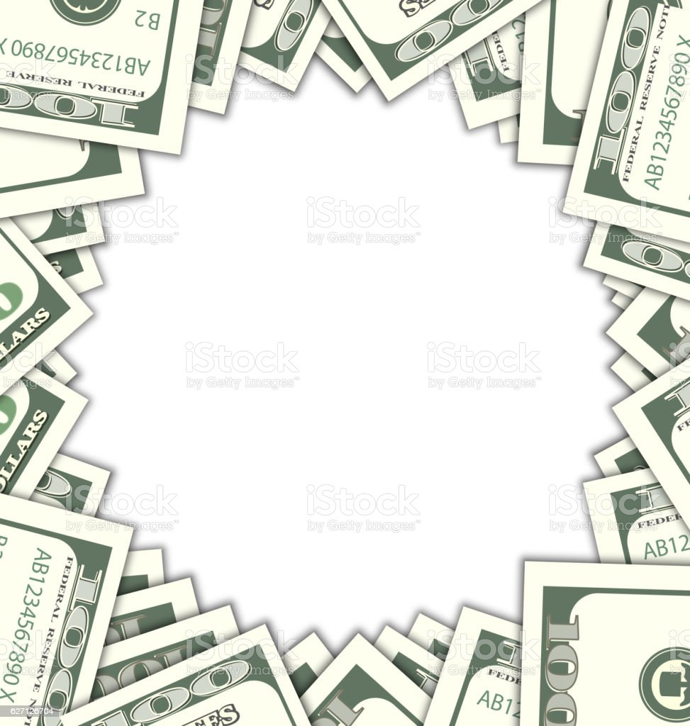 Round Frame with Dollars  Shadows on White Background vector art illustration