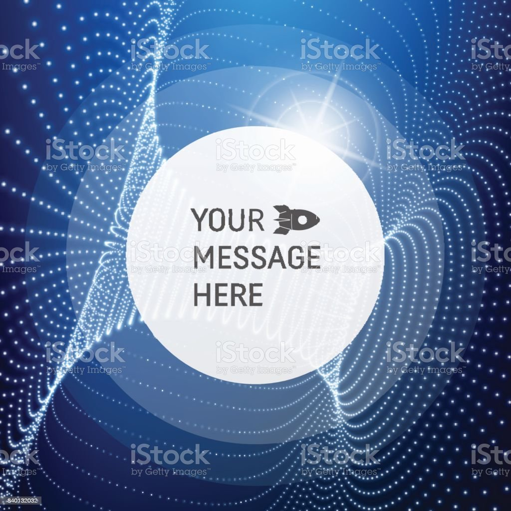 Round Frame with Place for Text. Lattice Structure. Network Technology Communication Background. Graphic Design. 3D Grid Surface with Particles. Illustration For Marketing, Advertising, Presentation. vector art illustration