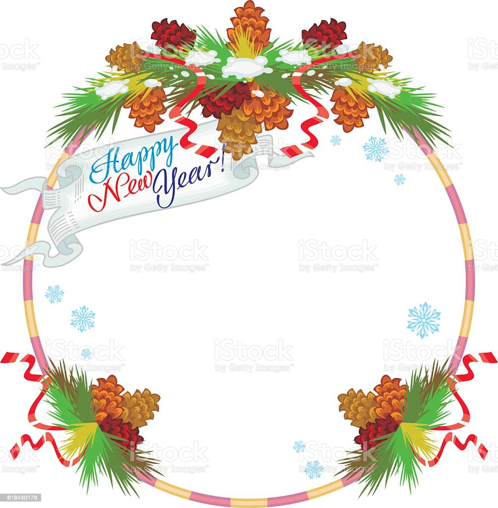 Round frame with decorative branch vector illustration stock - Christmas Christmas Decoration Christmas Ornament Christmas Tree Decoration Round Frame With Snow Flakes And Pine Branch Royalty Free Stock Vector Art