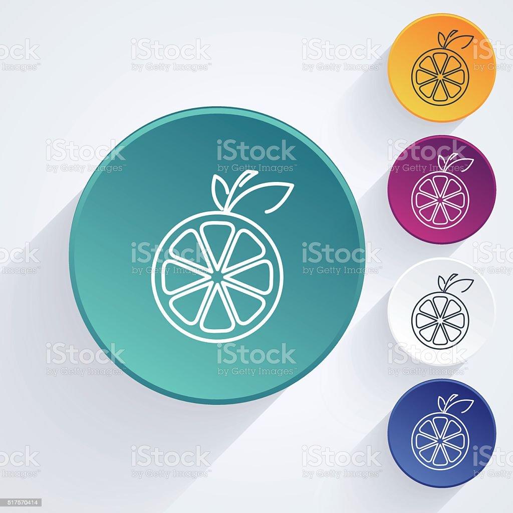 Round Fruit Thin Line Art Icon Set - Orange vector art illustration