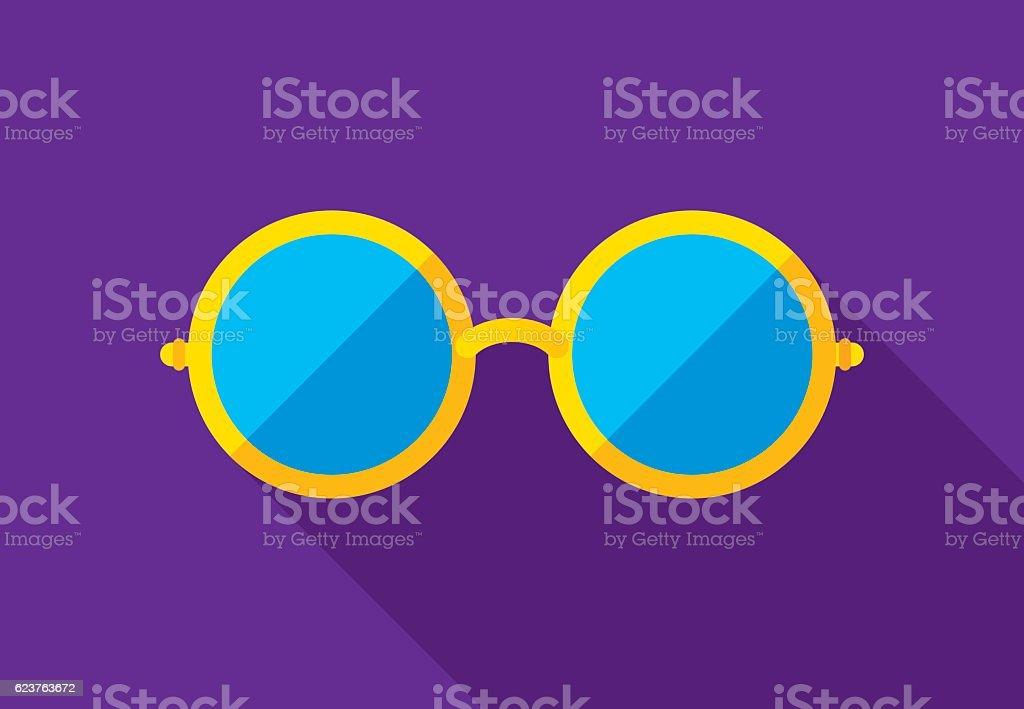 Round Glasses Icon Flat vector art illustration