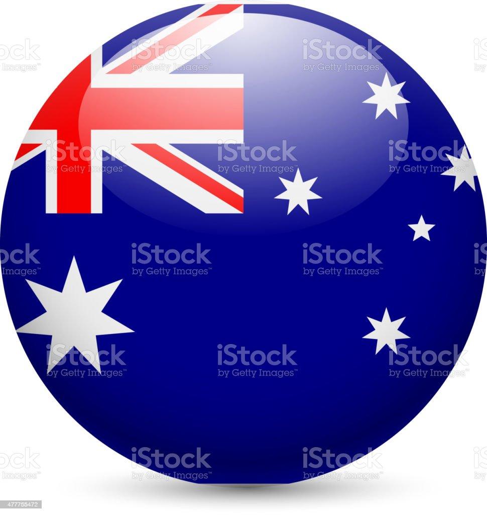 Round glossy icon of Australia vector art illustration