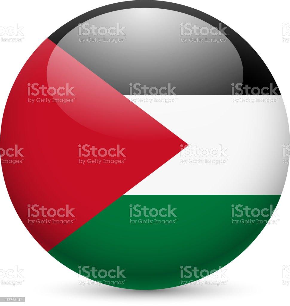 Round glossy icon of Palestine vector art illustration