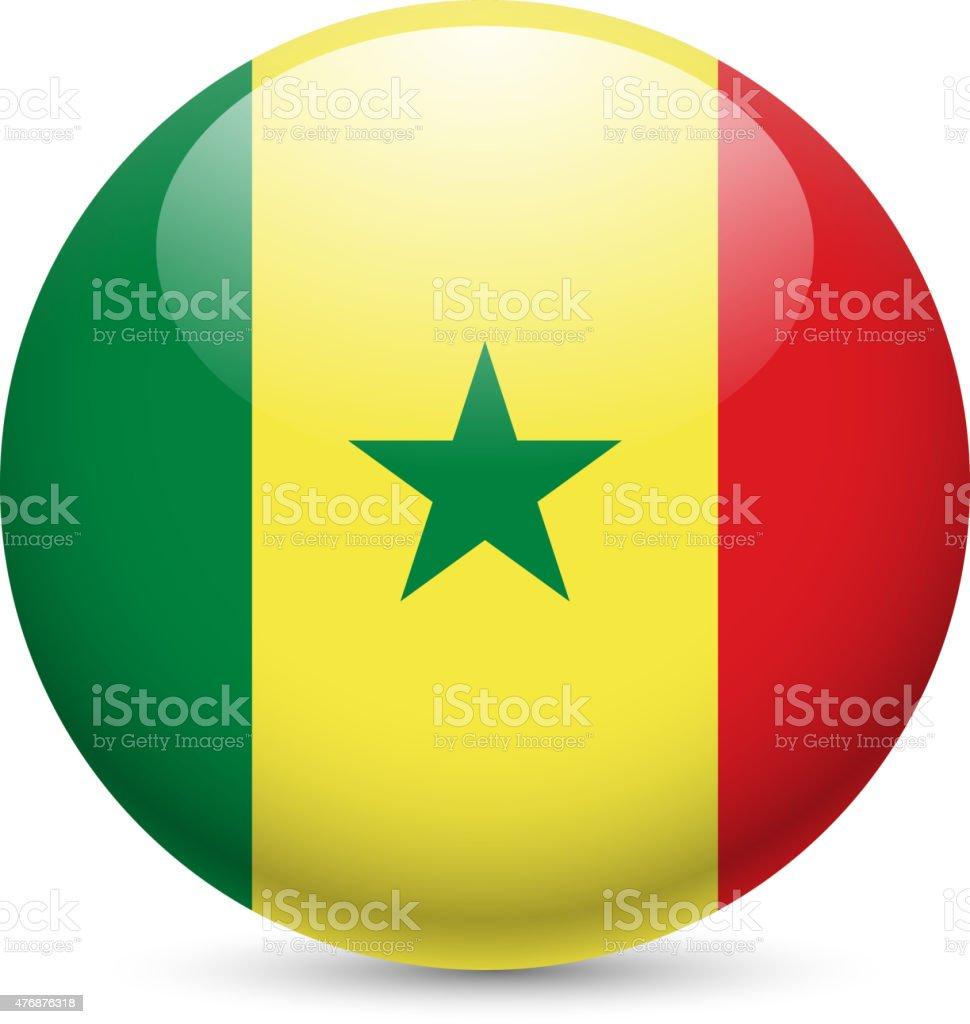 Round glossy icon of Senegal vector art illustration