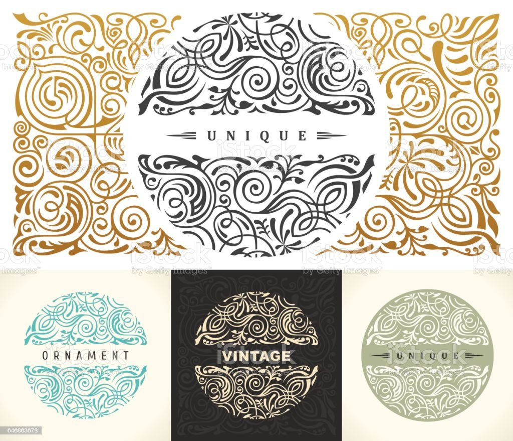 Round gold calligraphic royal emblem set. Vector floral symbol for cafe, restaurant, shop, print, stamp vector art illustration