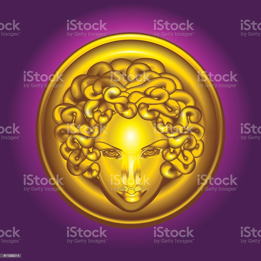 Round golden shield with the head of Medusa the Gorgon vector art illustration