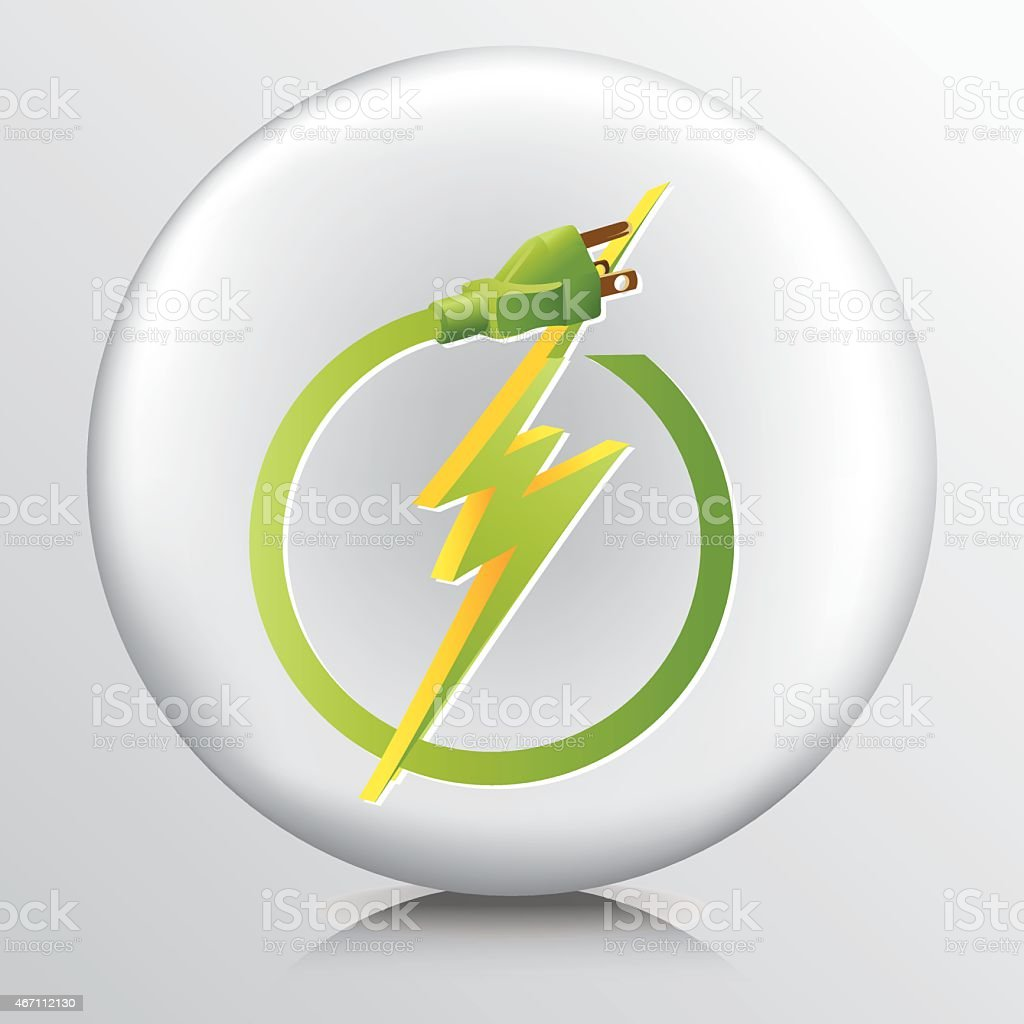 Round Grey Icon With Energy Efficient Green Electricity Symbol vector art illustration