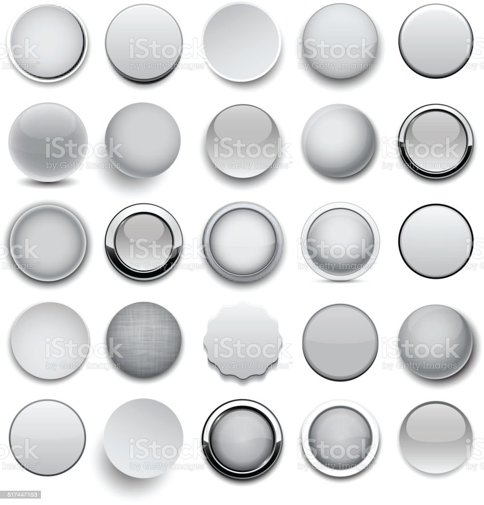 Round grey icons. vector art illustration