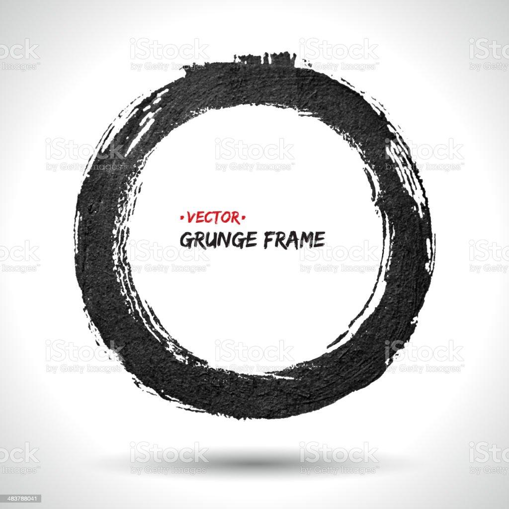 Round grunge vector frame vector art illustration