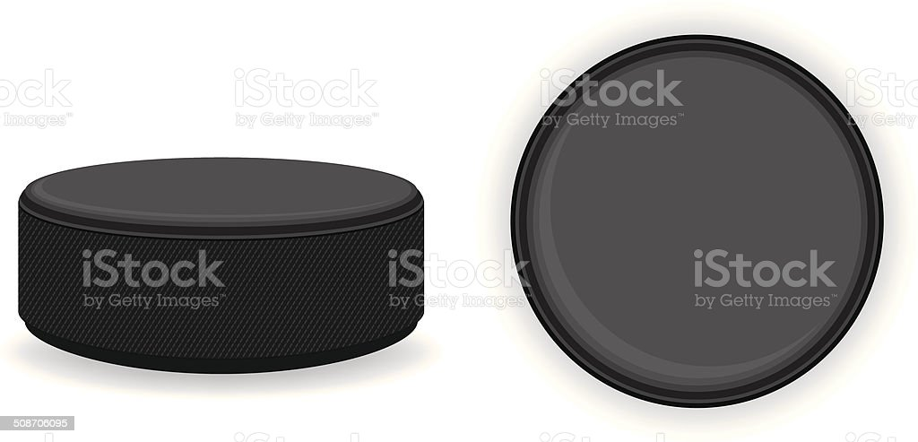 A round hockey puck against a white background vector art illustration