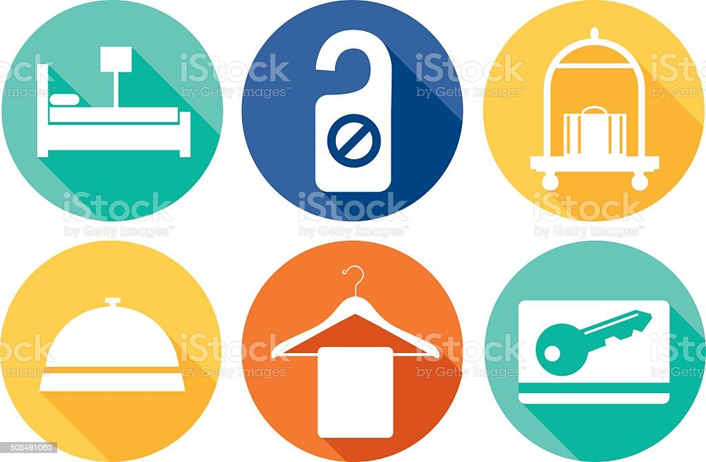 Round Hotel Icons vector art illustration
