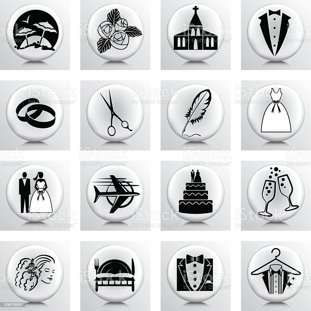 Round Icon Set Wedding And Marriage vector art illustration
