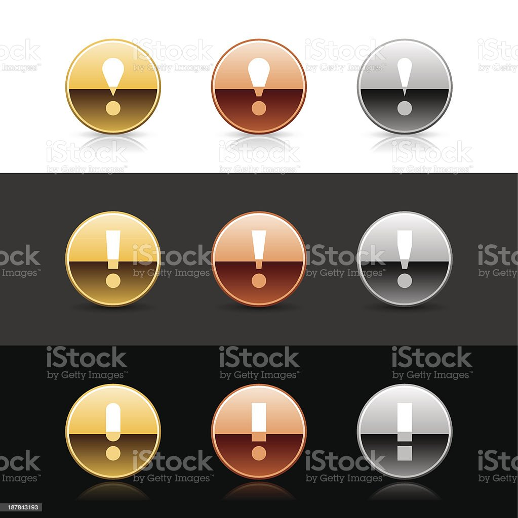 Round icon white exclamation mark sign metal gold bronze button royalty-free stock vector art