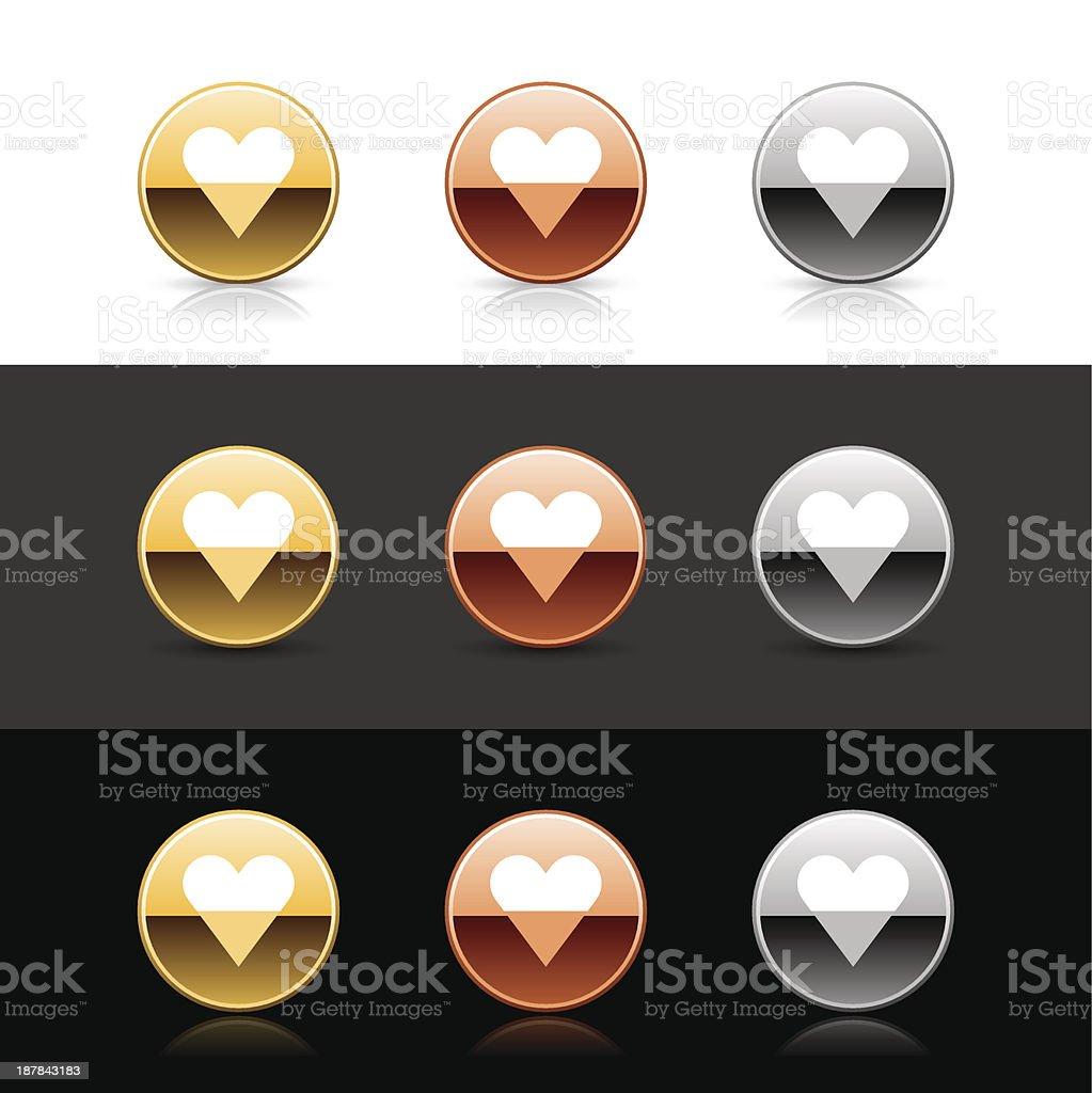 Round icon white heart sign metal gold bronze web button royalty-free stock vector art