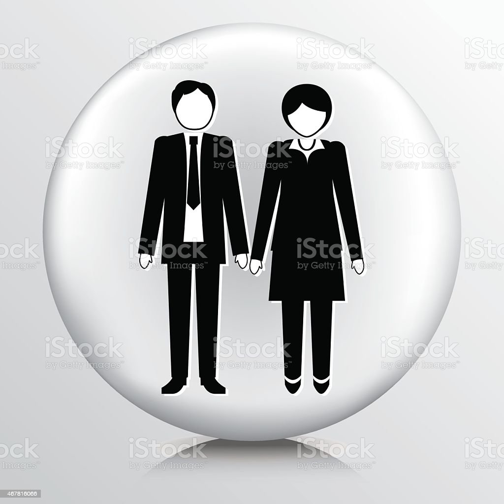 Round Icon With Businessman And Businesswoman vector art illustration