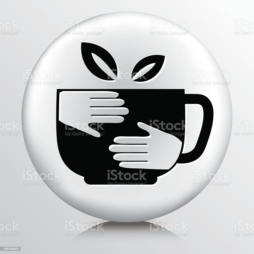 Round Icon With Free Trade Organic Coffee Cup And Hands vector art illustration