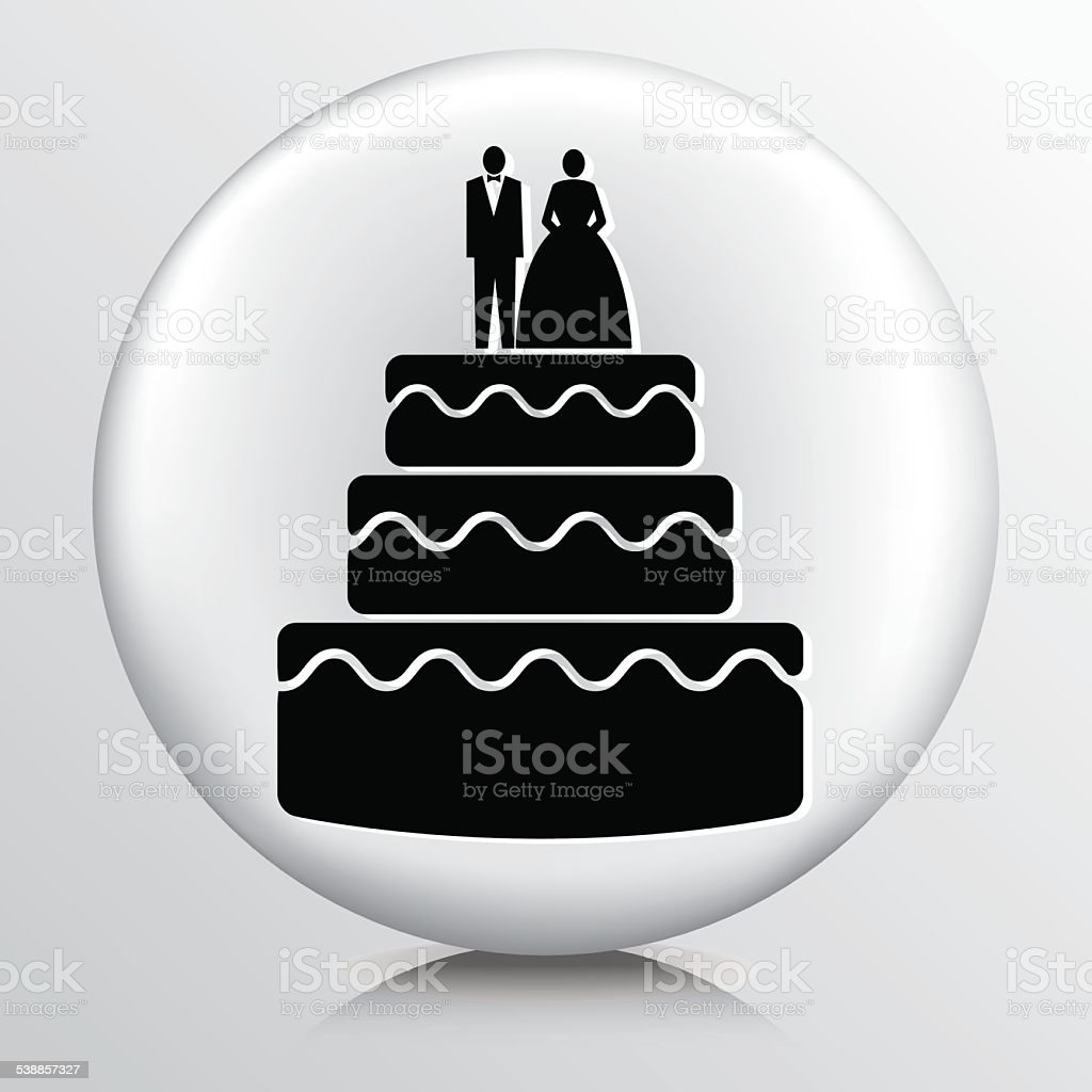 Round Icon With Wedding Cake With Topper vector art illustration