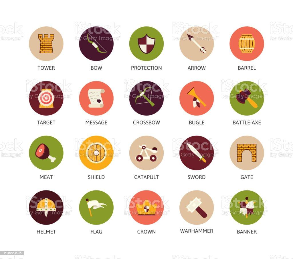 Round icons thin flat design, modern line stroke style vector art illustration