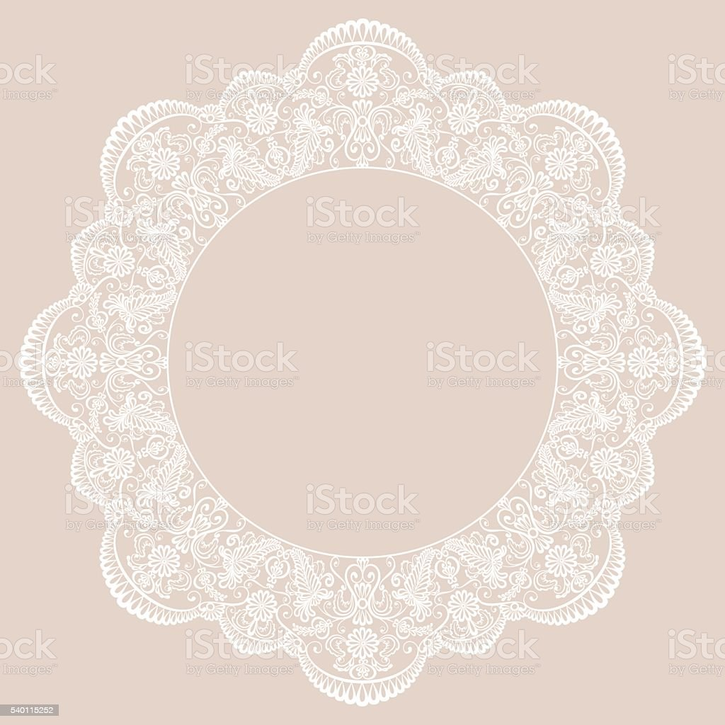 Round lace frame vector art illustration