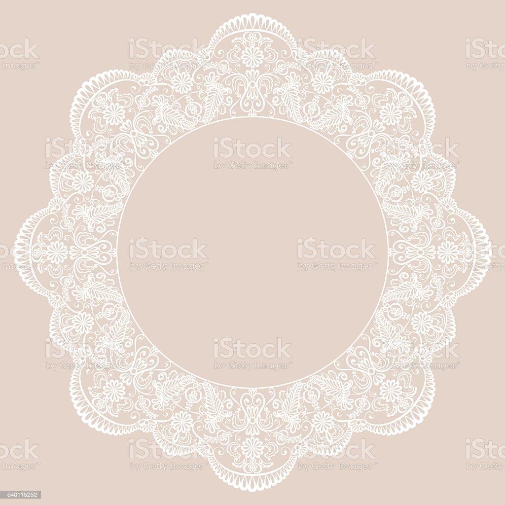 Round lace frame vector art illustration