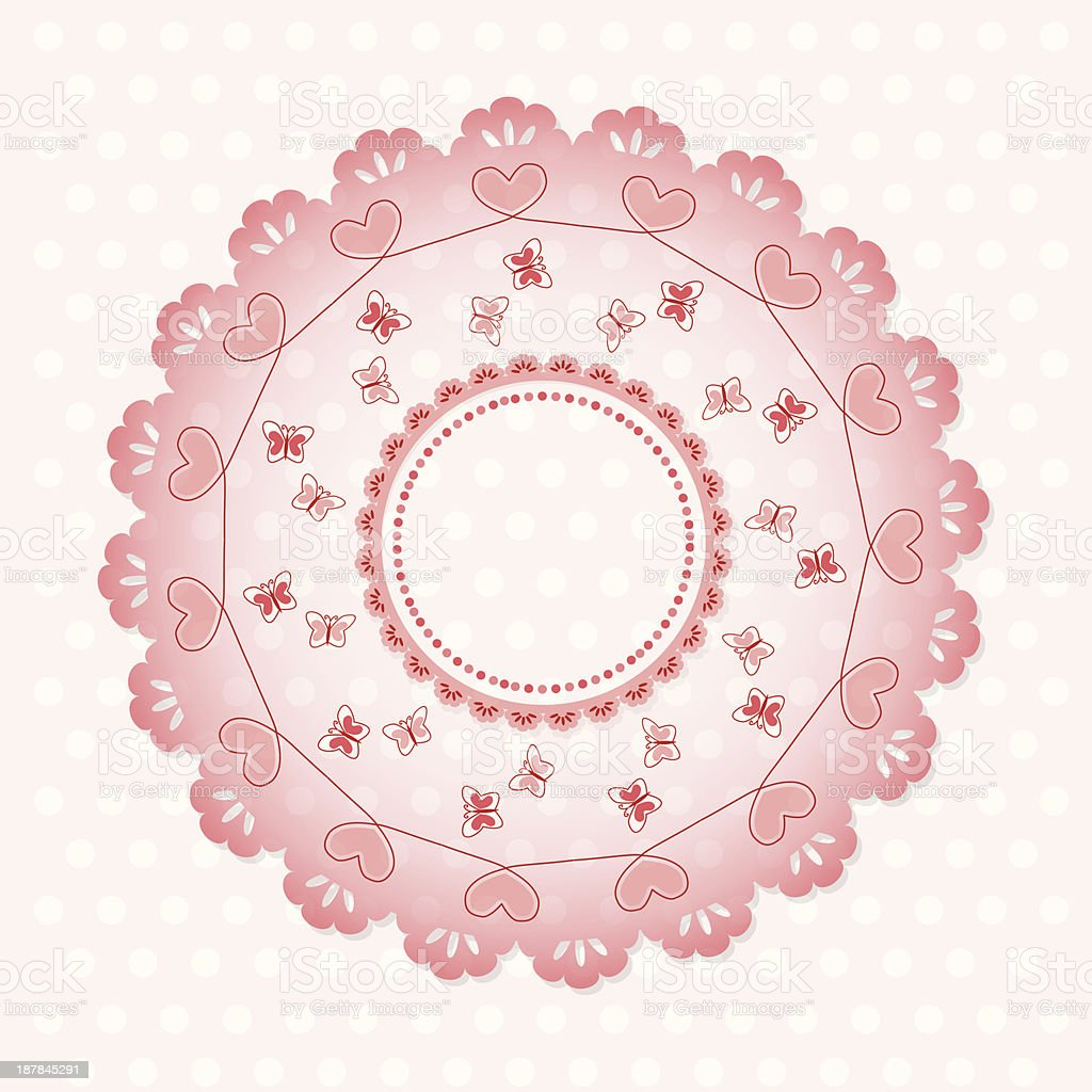 Round lace pattern with butterflies royalty-free stock vector art