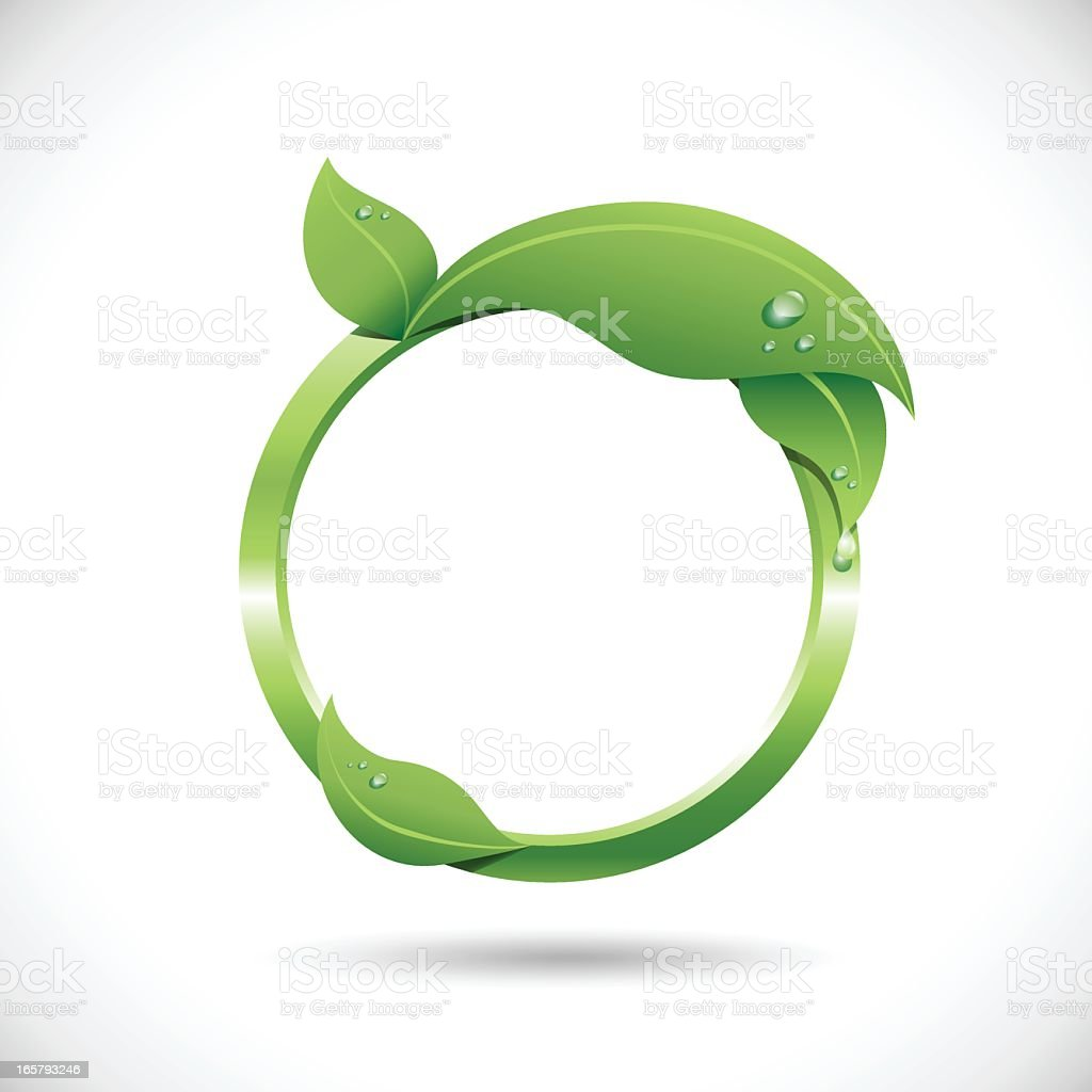 Round Leaf Frame on a white background royalty-free stock vector art