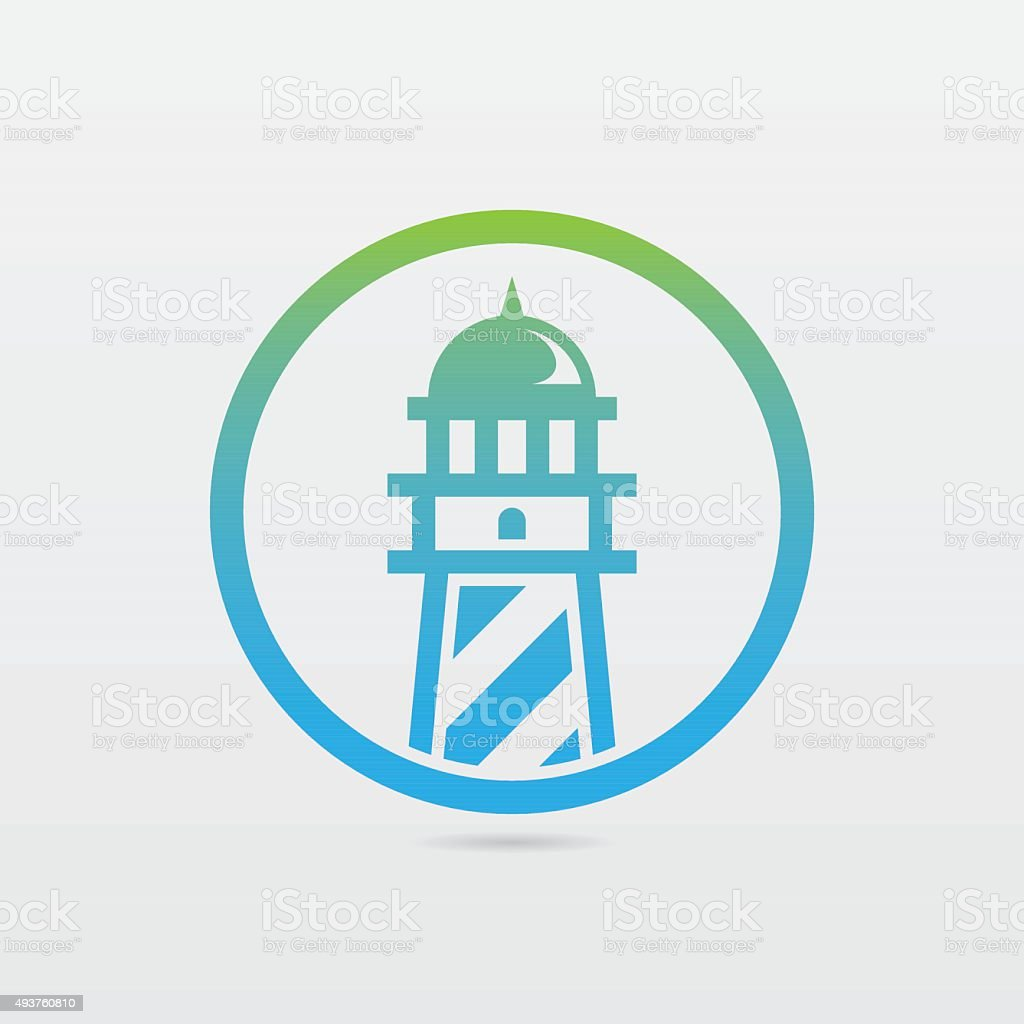 Round Lighthouse Icon vector art illustration