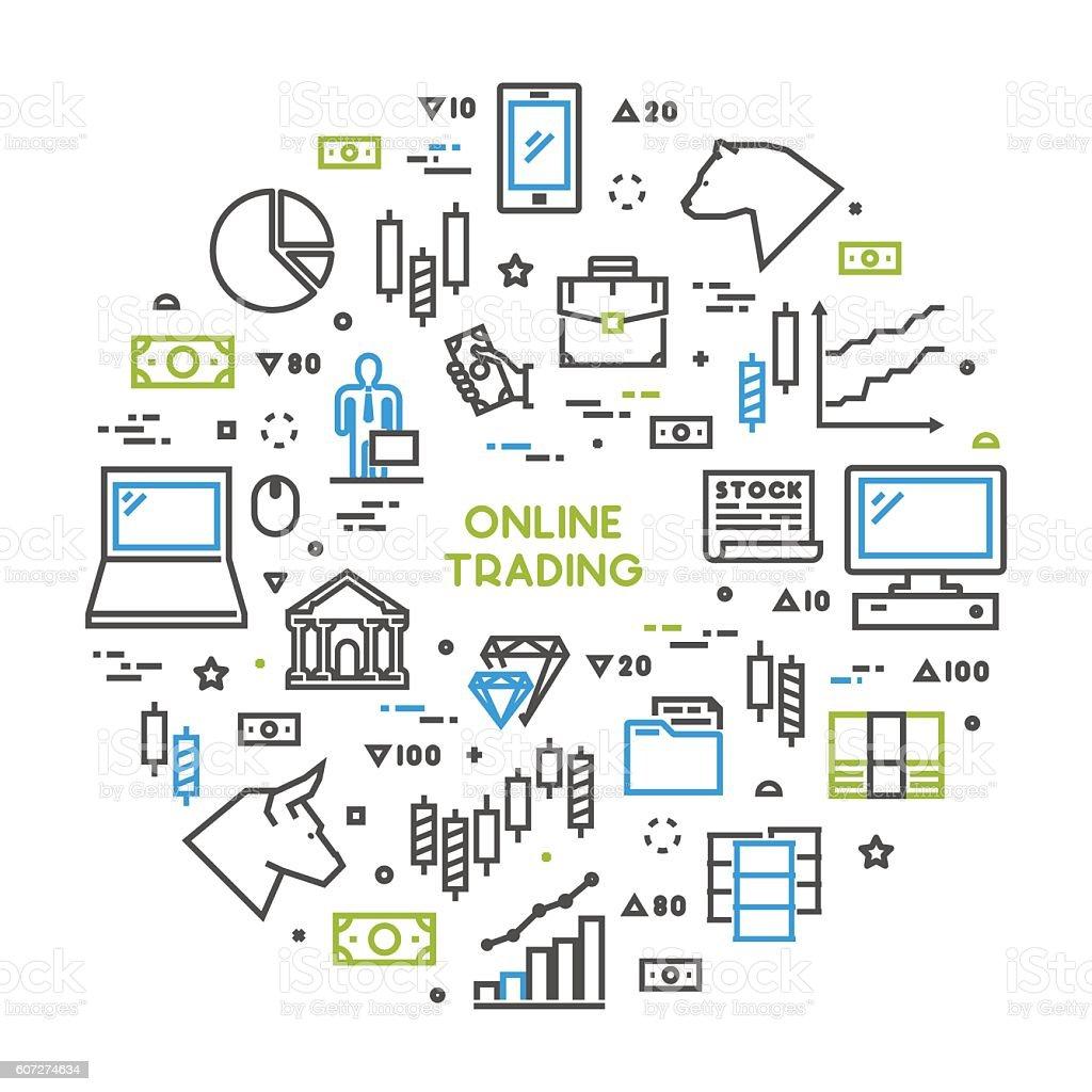 Round line concept for online trading vector art illustration