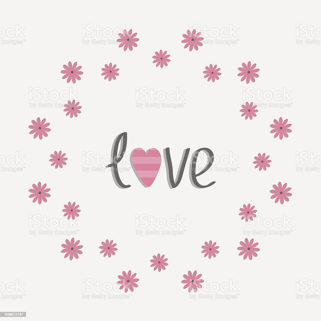 Round love frame with pink daisy. Flat design style. royalty-free stock vector art