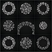 Round luminescent gray circuit boards with electronic components
