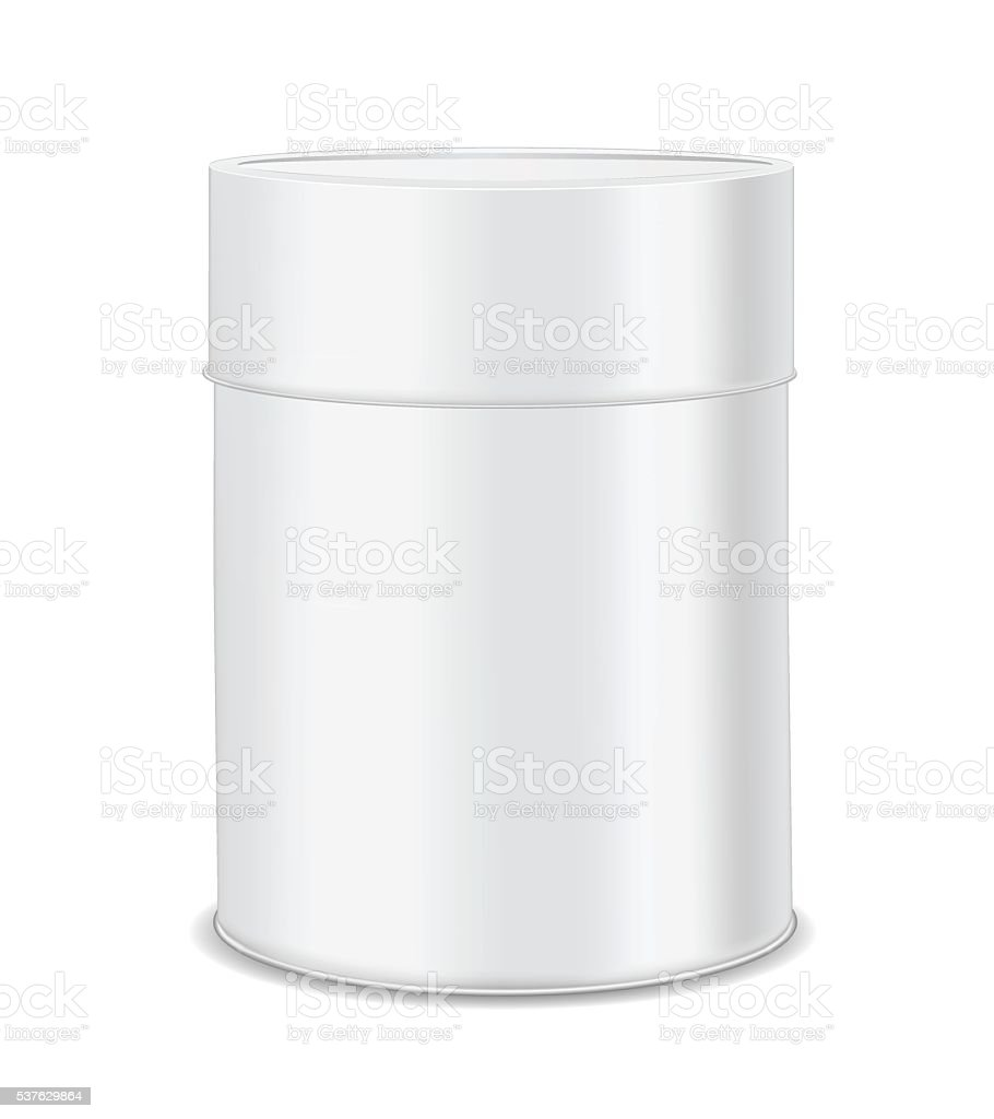 Round metal can for food, cookies and gifts. vector art illustration