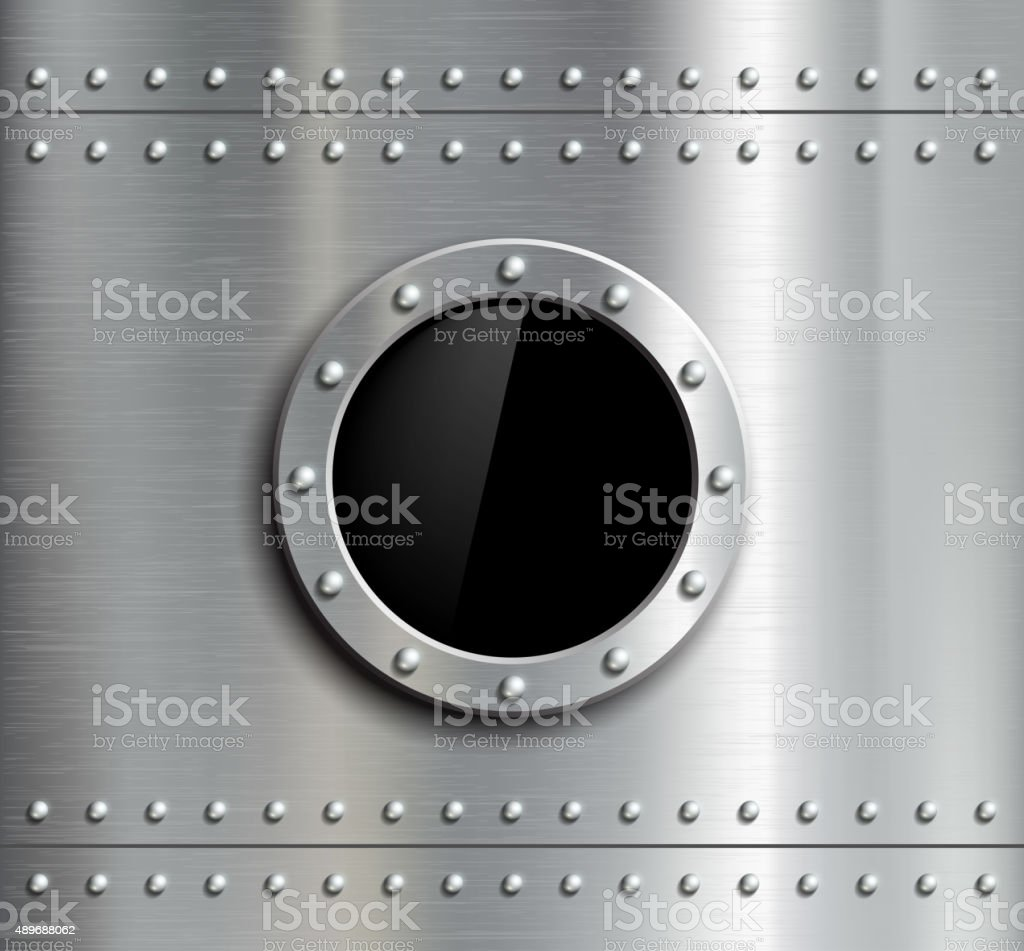 Round metal window with rivets. vector art illustration