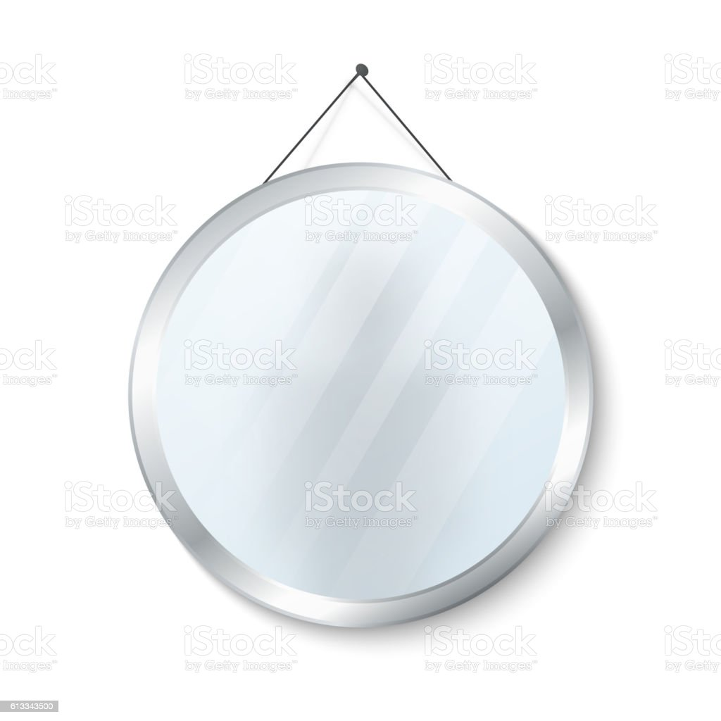 Round mirror with steel frame vector illustration vector art illustration
