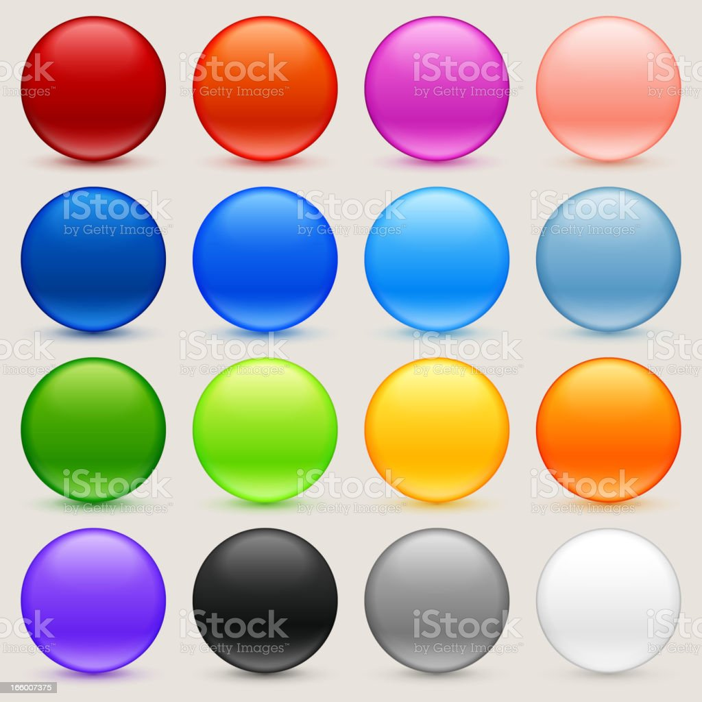 Round Multi Colored Sphere Buttons Collection royalty-free stock vector art