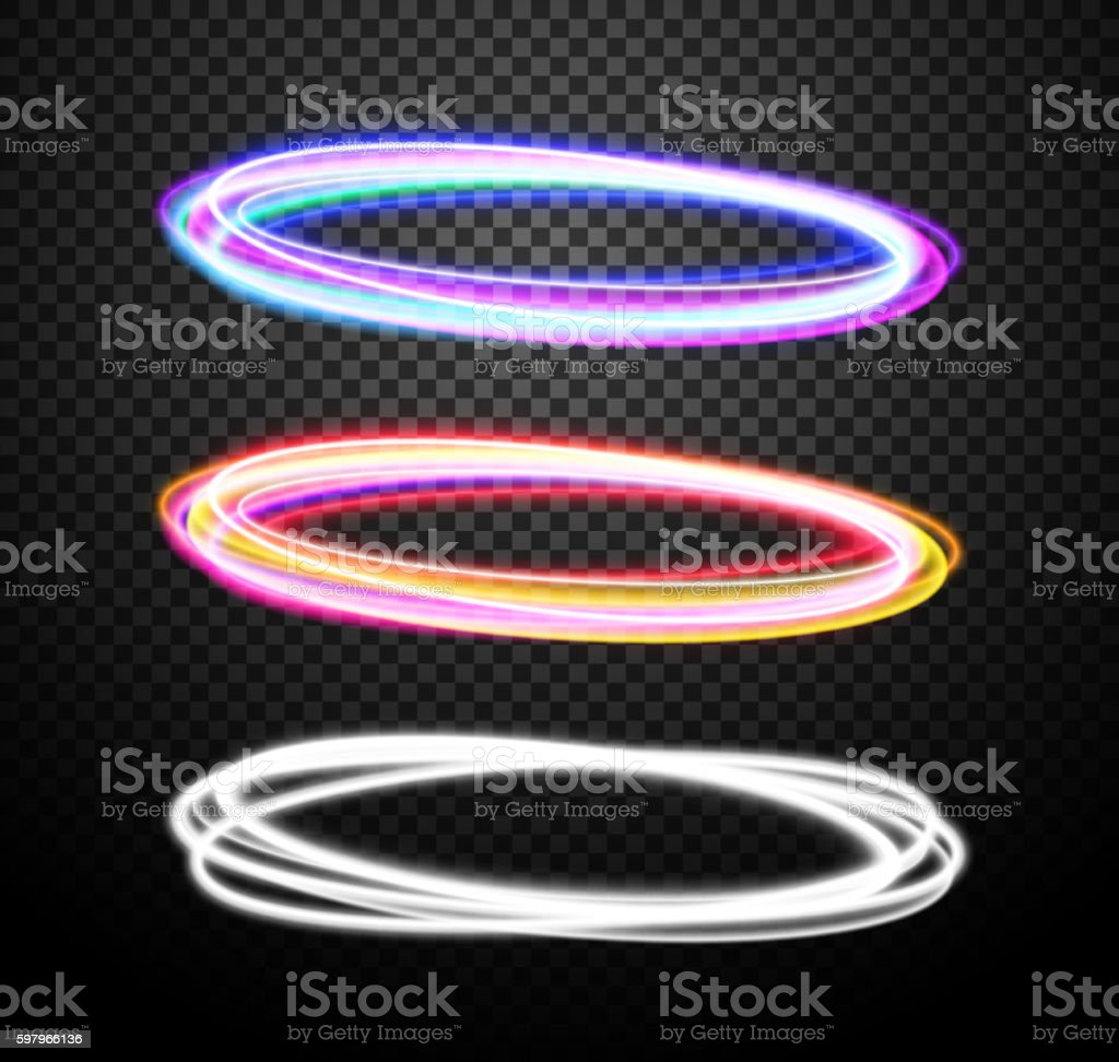 Round neon light trail vector special effects set vector art illustration